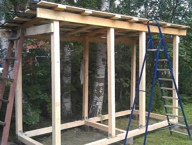 монтаж односкатной крыши для дровяника