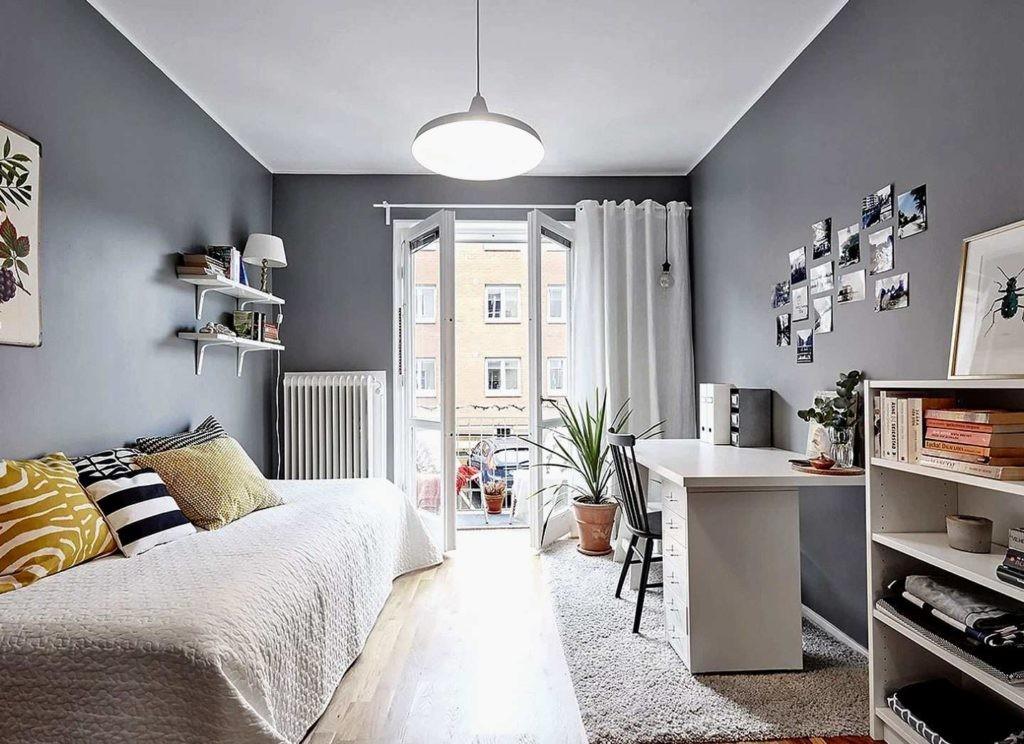 Серо-белая комната в скандинавском стиле