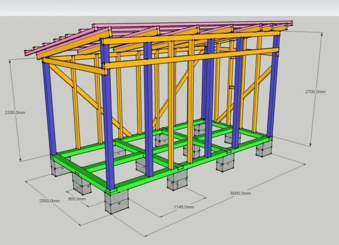 Схема сарая - конструкция