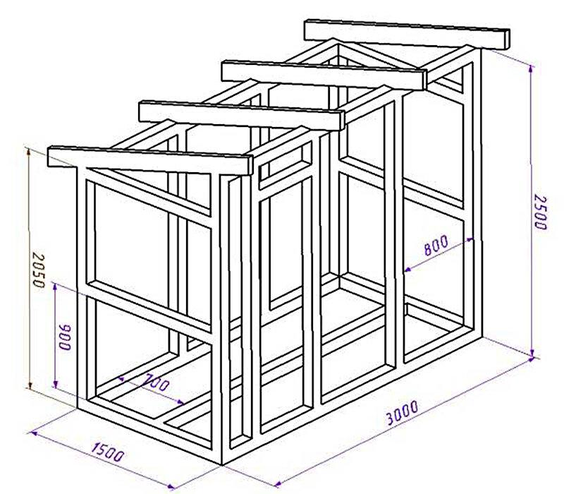 Стандартная схема изготовления дровяника