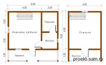 планировка двухэтажной бани 6x6