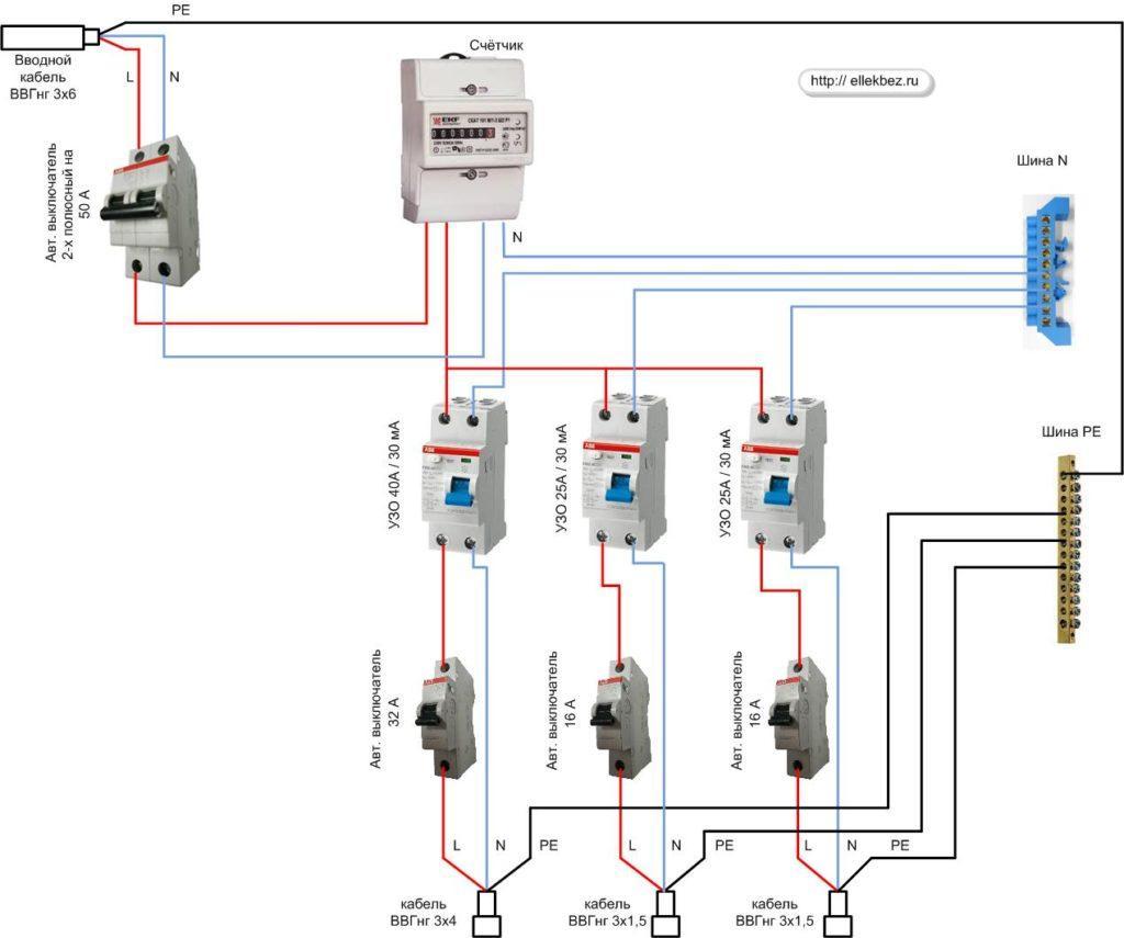 схема подключения дифавтомата к однофазной сети