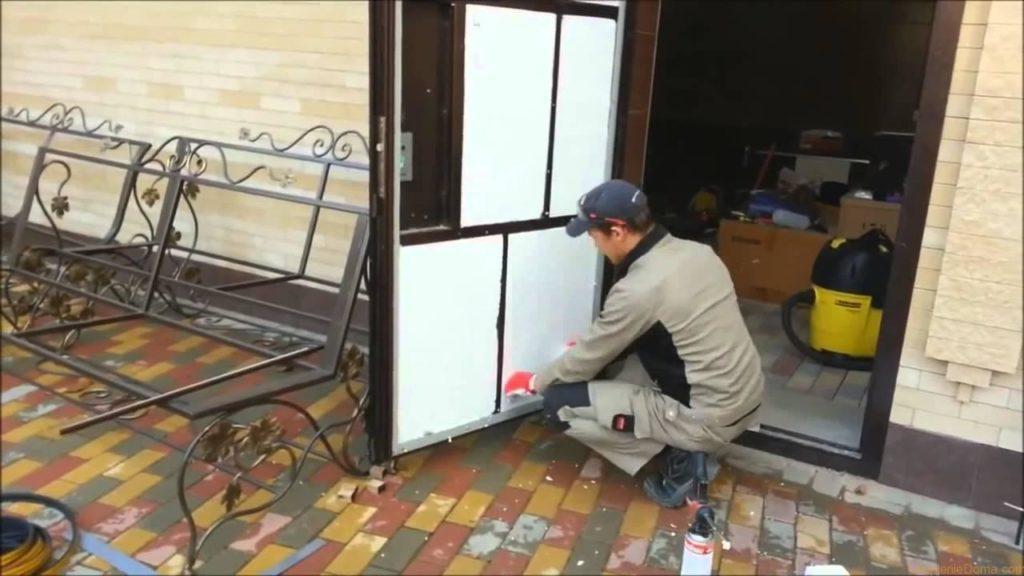 Утепление железной двери пенопластом