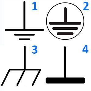 Провода заземления в схемах обозначаются специальными символами