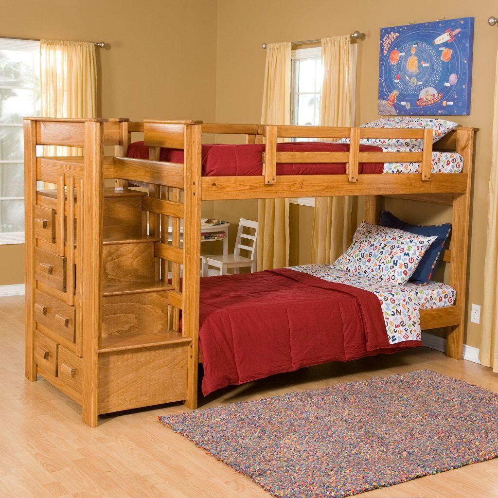 Двухъярусная кровать из ДСП или доски